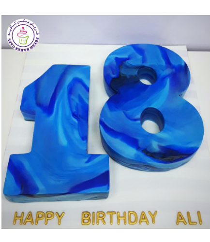 Number Themed Cake - 3D Cake - Fondant Marble