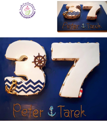 Nautical Themed Number 37 Cakes