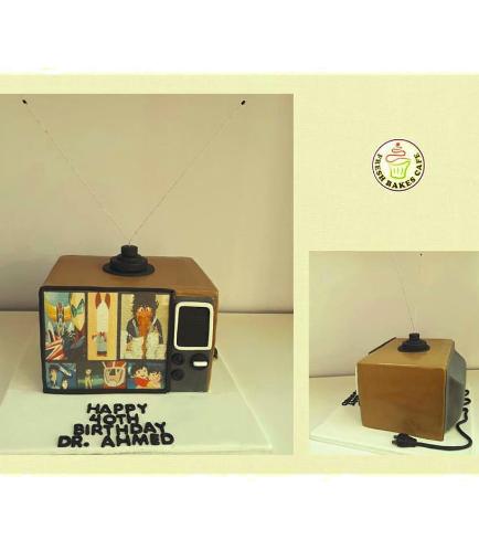 Old TV Set Themed Cake