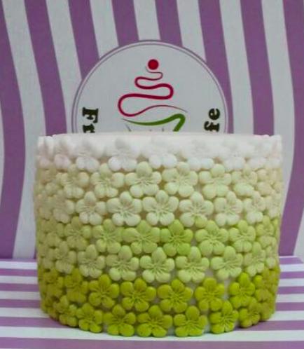Fondant Ombre Cake - Flowers - Green