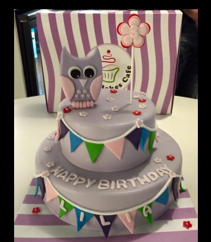 Owl Themed Cake - 2D Cake Topper - 2 Tier