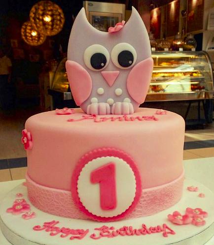 Owl Themed Cake - 2D Cake Topper - 1 Tier 02