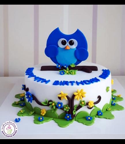 Owl Themed Cake - 2D Cake Topper - 1 Tier 03b