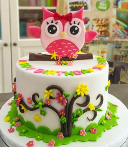 Owl Themed Cake - 2D Cake Topper - 1 Tier 04