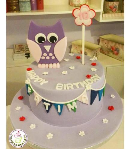 Owl Themed Cake - 2D Cake Topper - 1 Tier 01