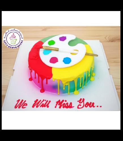 Paint Palette Themed Cake - 3D Cake Topper - 1 Tier