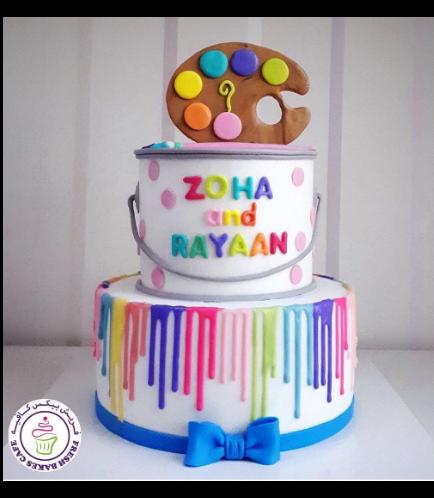 Paint Palette Themed Cake - 3D Cake Topper - 2 Tier