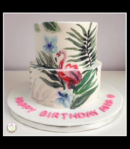 Flamingo Themed Cake 03a