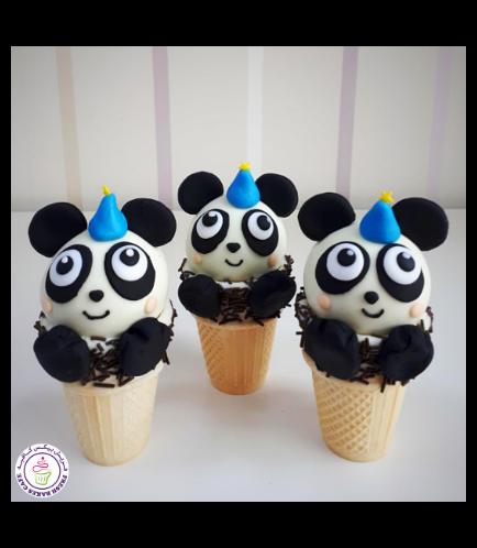 Panda Themed Cone Cake Pops 4