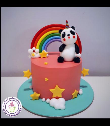 Panda Themed Cake - 3D Cake Topper - Unicorn