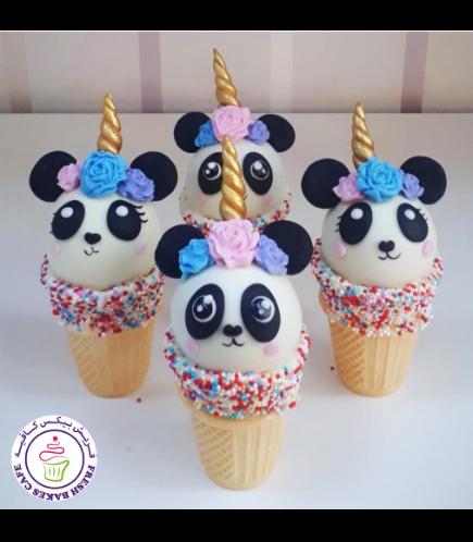 Panda Themed Cone Cake Pops - Unicorn Panda 01
