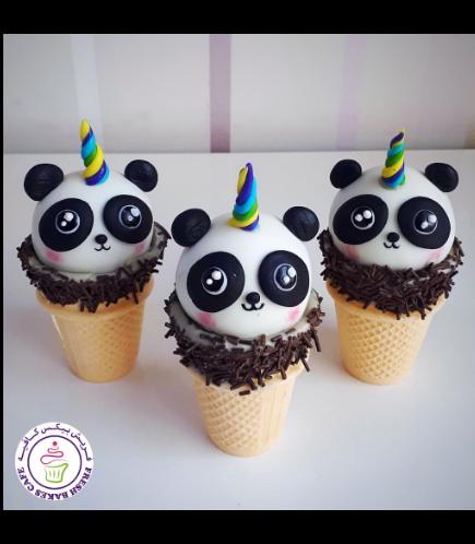 Panda Themed Cone Cake Pops - Unicorn Panda 02