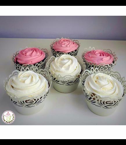 Cupcakes - Pink & White Cream Rose