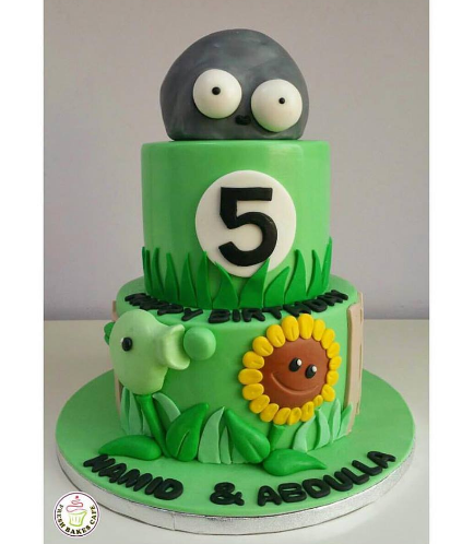 Plants vs Zombies Themed Cake - 2 Tier 01