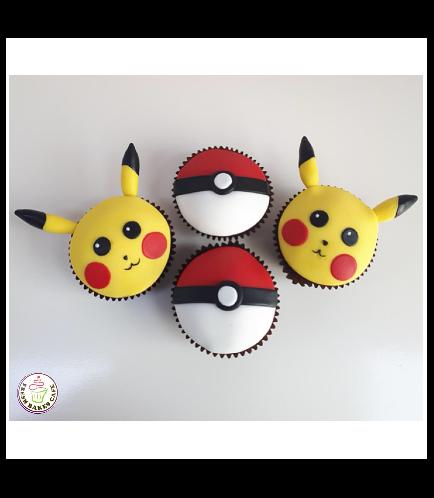 Cupcakes  - 2D Fondant Toppers - Pikachu & Pokeball 01