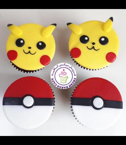 Cupcakes - 2D Fondant Toppers - Pikachu & Pokeball 02