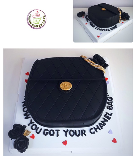 Purse Themed Cake - 3D Cake - Chanel - Black 01