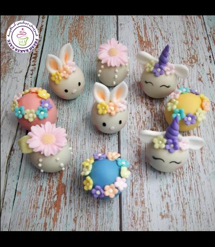 Rabbits, Flowers, & Unicorns Themed Cake Pops w/o Sticks