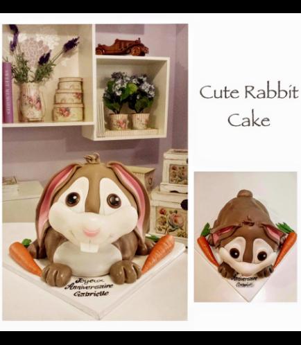Rabbit Themed Cake - 3D Cake - Fondant