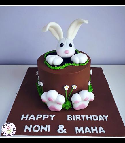 Rabbit Themed Cake - 3D Head Cake Topper 01b
