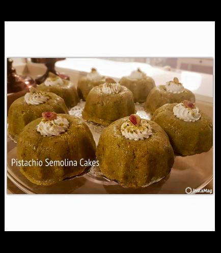 Ramadan Sweets-Pistachiio Semolina Cakes