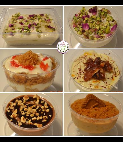 Ramadan Sweets-Layali Libnan, Rice Pudding, Kunafa w/ Kashta, Muhalabiya w/ Cardamon & Saffron, Nutella Rice Pudding, & Lotus Rice Pudding