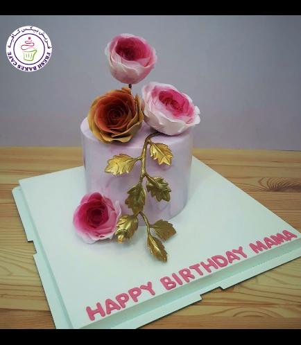 Cake - Roses - Fondant Marble - 1 Tier