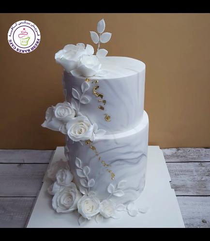 Cake - Roses - Fondant Marble - 2 Tier