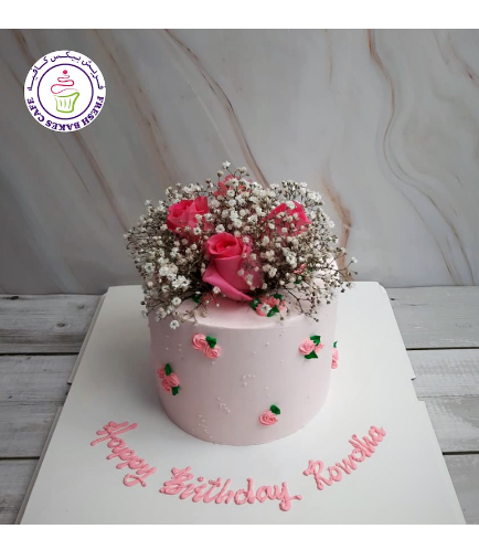 Cake - Roses - Cream Piping - Natural Flowers