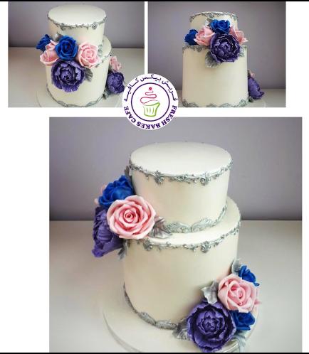 Cake - Roses - Silver Border - 2 Tier