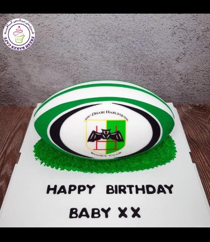 Rugby Themed Cake - Rugby Ball - 3D Cake - Abu Dhabi Harlequins