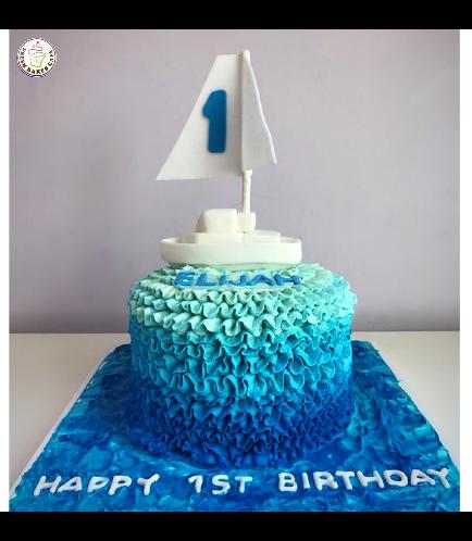 Sailboat Themed Cake 03 - Cream