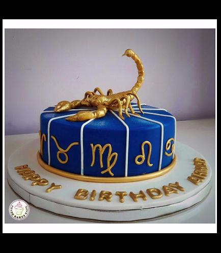 Scorpio Sign Themed Cake 2b
