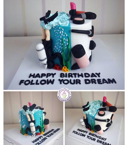 Scuba Diving/Makeup Themed Cake