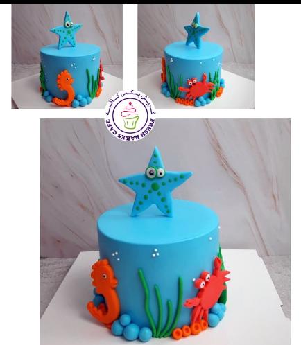 Sea Creatures Themed Cake - 1 Tier