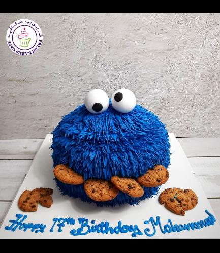 Cake - Cookie Monster - Face - Cream Cake 02