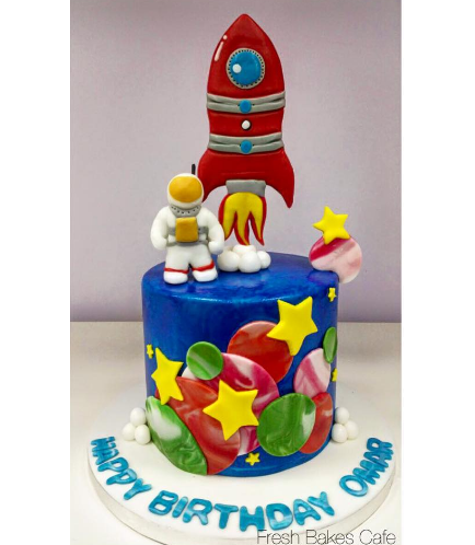 Cake - Space - 2D & 3D Cake Toppers - Astronaut & Rocket Ship 01