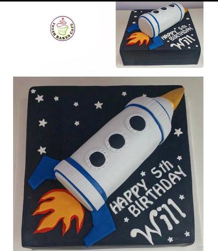 Cake - Space - 3D Cake - Rocket Ship