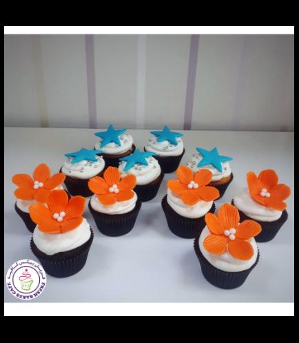 Starfish & Hibiscus Themed Cupcakes