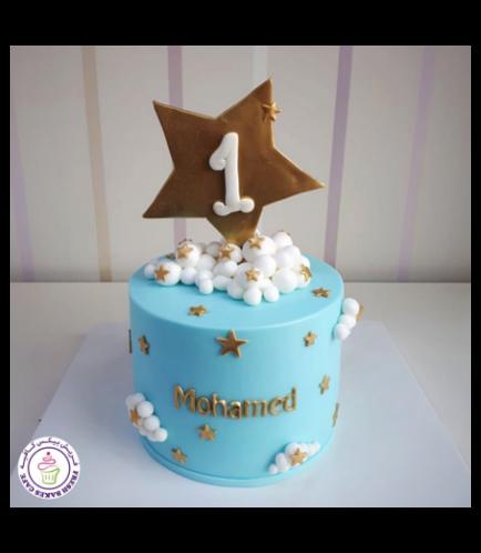 Cake - Stars - 2D Cake Topper - 1 Tier 01 - Blue