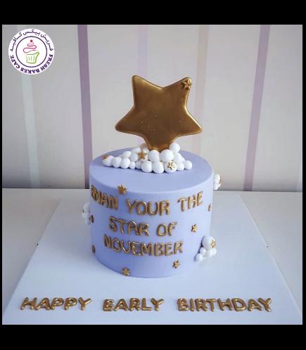 Cake - Stars - 2D Cake Topper - 1 Tier 01 - Purple