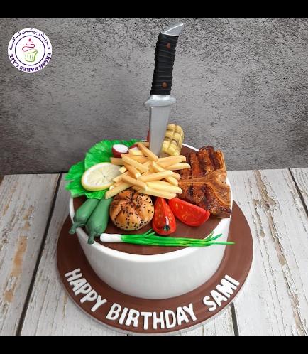 Steak & Veggies Themed Cake
