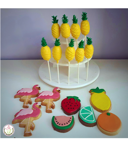 Pineapple Themed Cake Pops, Flamingo & Fruit Themed Cookies