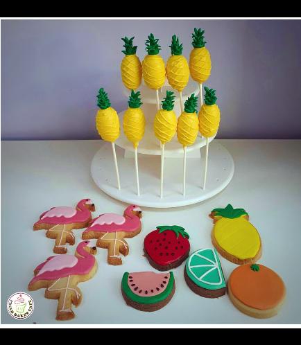 Cake Pops & Cookies - Flamingo, Pineapple, & Fruits