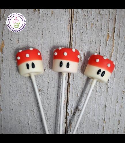 Super Mario Themed Marshmallow Pops - Mushrooms