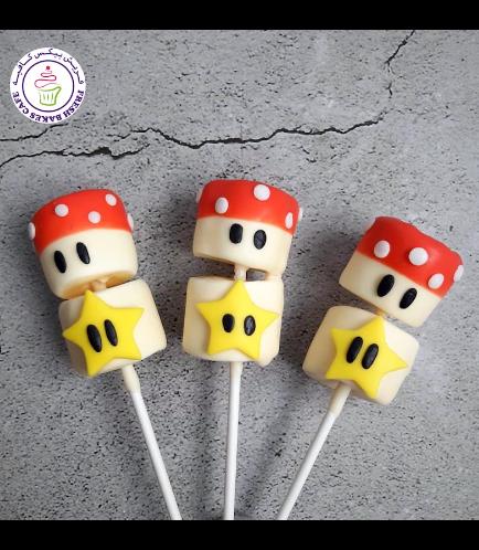 Super Mario Themed Marshmallow Pops - Mushrooms & Stars