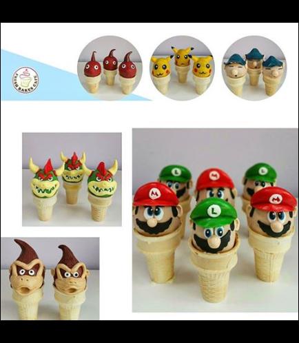 Super Smash Bros Themed Cone Cake Pops