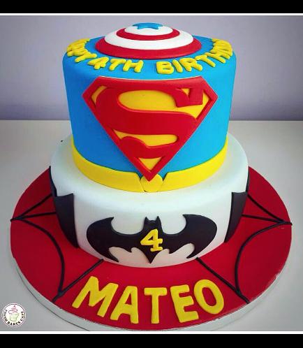 Superheroes Themed Cake - 2D Fondant Logos - 2 Tier 01a