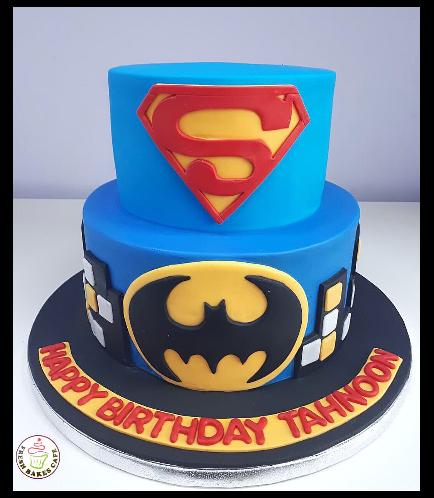 Superheroes Themed Cake - 2D Fondant Logos - 2 Tier 02
