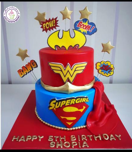 Superheroes Themed Cake - For Girls 02